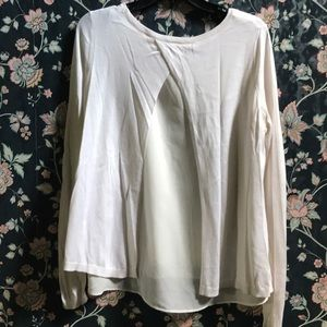 H&M ivory light sweater with sheer cut out